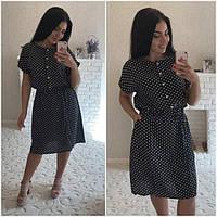 Женское платье Женя черное в горошек БАТАЛ
