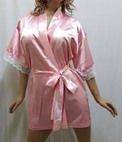 Нежный женский атласный халат с кружевом,короткий
