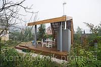 Беседка с печкой, открытая, под крышей