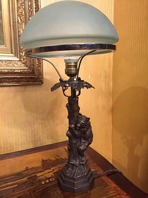 Бронзовая настольная лампа Медведь, автор В.Грачёв, 19 век, фото 2
