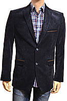 Мужской вельветовый пиджак, синий, с коричневыми накладками на локтях (Піджак чоловічий вельветовий)