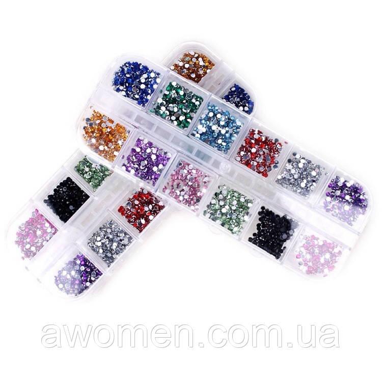 Цветные камни в коробке 12 цветов