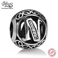 """Серебряная подвеска-шарм Пандора (Pandora) """"Винтажная буква N"""" для браслета"""