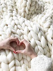 Плед крупной вязки белый