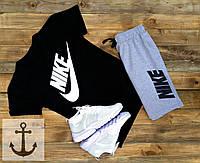 Мужская футболка Nike + Шорты 🔥 (Найк) черно-серые