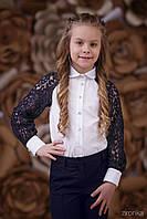 """Детская школьная блузка """"Синее кружево"""" Zironka"""