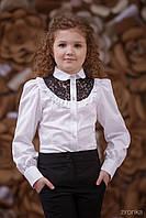 """Детская блузка с кружевной кокеткой """"White/Black"""" Zironka"""