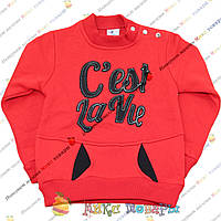 Красный батники с начёсом для девочек от 3 до 7 лет (3679-3)