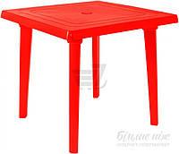 Садовый стол пластиковый красный квадратный (для кафе и улиц)