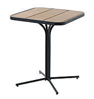 Садовый квадратный стол бежевый из алюминия и стали на одной ножке, фото 1