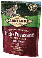 Корм Carnilove Cat Duck&Pheasant Hairball Controll для выведения комков шерсти у котов, утка и фазан, 0,4 кг