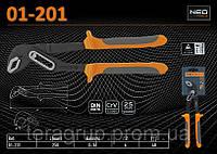Клещи трубные переставные, L-250мм., Ra - (0...36)мм., NEO 01-201