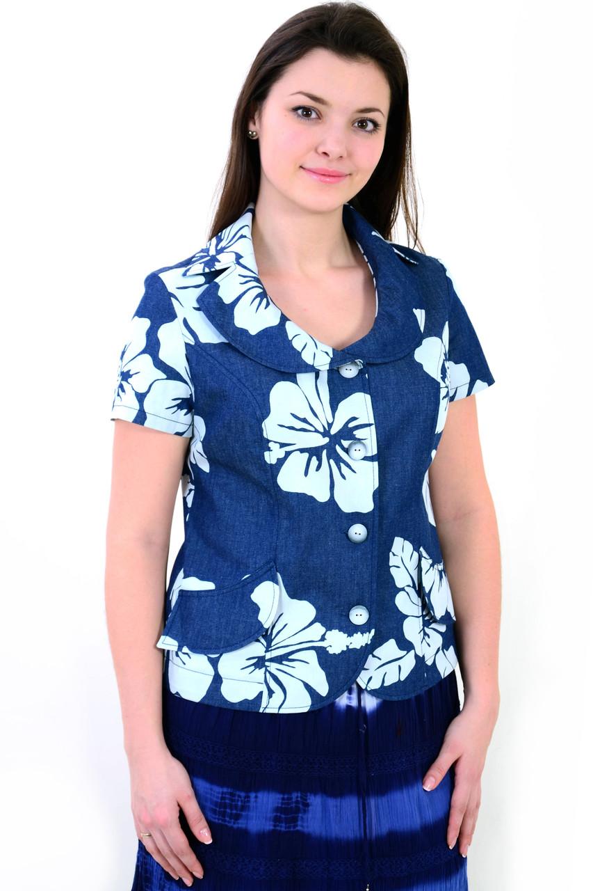 Жакет женский  джинсовый приталенный (ЖК 765),пиджак , блузон, большие размеры,48,50,52,54,56,58.