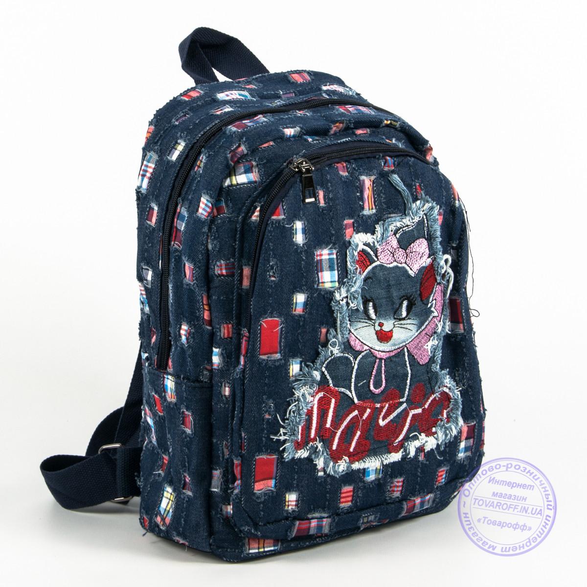 Небольшой джинсовый рюкзак с котиком - синий - 117