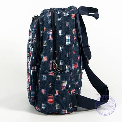 Небольшой джинсовый рюкзак с котиком - синий - 117, фото 3