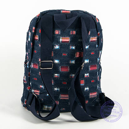 Небольшой джинсовый рюкзак с котиком - синий - 117, фото 2