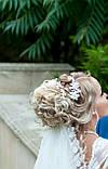 Веточка, веночек под серебро в прическу с цветами и жемчугом, фото 7