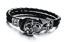 Винтажный кожаный браслет «Black Brilliant» 21.5 см черный