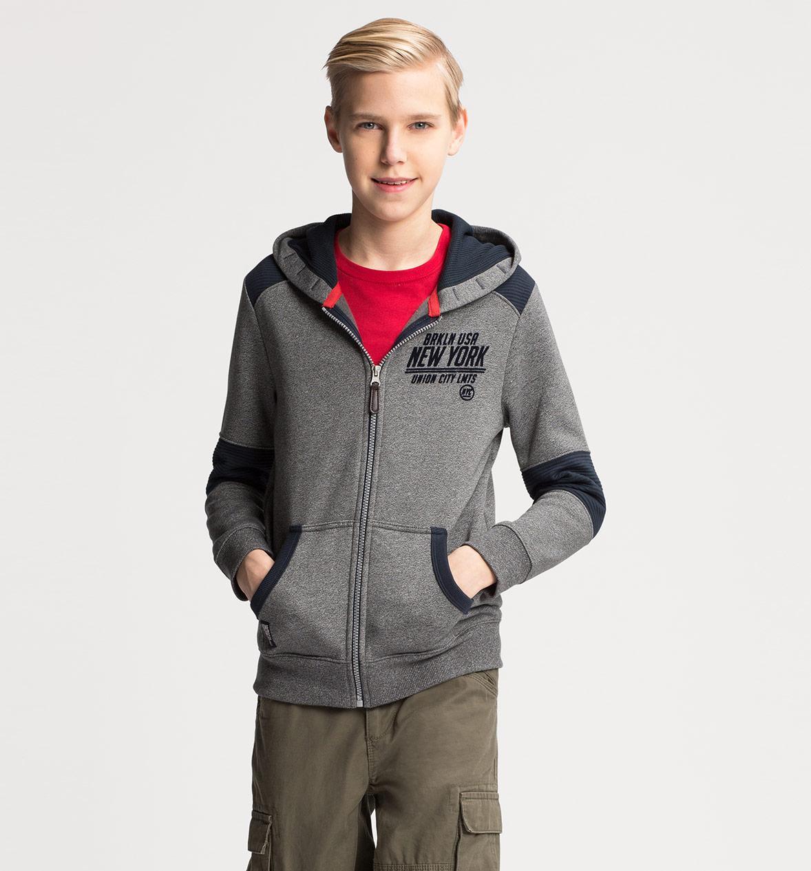 Серая кофта на молнии с капюшоном на мальчика C&A Германия Размер 158-164