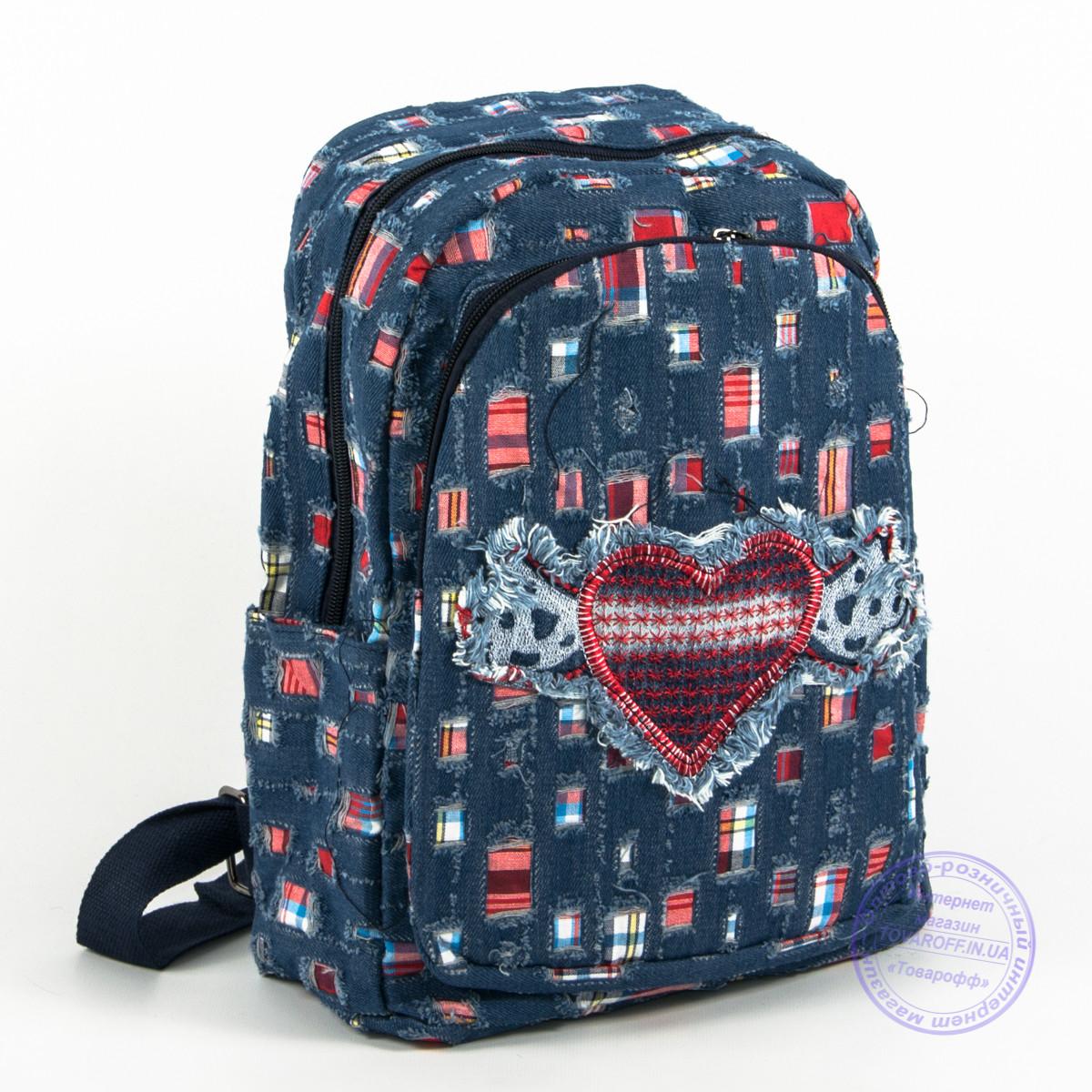 Небольшой джинсовый рюкзак с сердечком - синий - 117