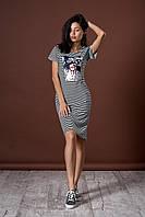 Стильное летнее полосатое платье с рисунком. Код модели Л-46.2-55-17.
