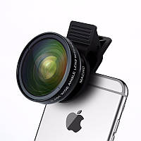 Съемный объектив Turata для телефона/планшета 2 в 1. Макро линза+широкоугольная линза на прищепке