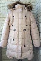 Красивая, детская зимняя  куртка- парка на девочку с натуральным мехом бежевая на возраст 9,10,11,12,13 лет