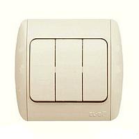Тройной выключатель EL-Bi Zirve Fixline крем