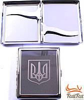 Портсигар металлический с эмблемой Украина