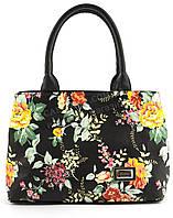 Оригинальная симпатичная качественная сумка с эко кожи очень высокого качества B.Elite art. 05-75 черная цветы