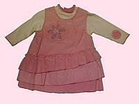 Комплект одежды для новорожденной : розовый сарафан и блуза