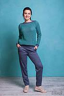 Женский вязаный спортивный костюм Цвет: джинс+мята