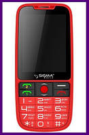 Телефон Sigma Comfort 50 Elegance (RED). Гарантия в Украине 1 год!