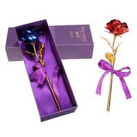 Золотая роза позолоченая в коробке 24К красная/синяя