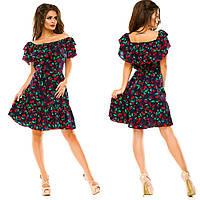 Платье с рюшами из штапеля. Платья. Магазин одежда. Одежда интернет. Женская одежда.