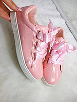 Кроссовки лаковые с лентами+шнурки. цвет -Розовый ,материал - эколак, Польша