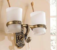 Стакан подставка в бронзе подвесной настенный для зубных 0402, фото 1