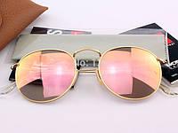 Очки Ray Ban RB 3447 Round Metal Pink стекло комплект солнцезащитные копия, фото 1