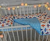 """Постільна білизна в ліжечко """"Літачки+зірочки"""" 1025"""