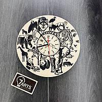 Настенные часы дизайнерские «Джунгли», натуральное дерево