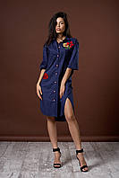 Женское удлиненное платье рубашка. Цвет синий. Код модели Л-47-45-17.