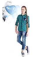 Модная рубашка для девочки подростка в клетку