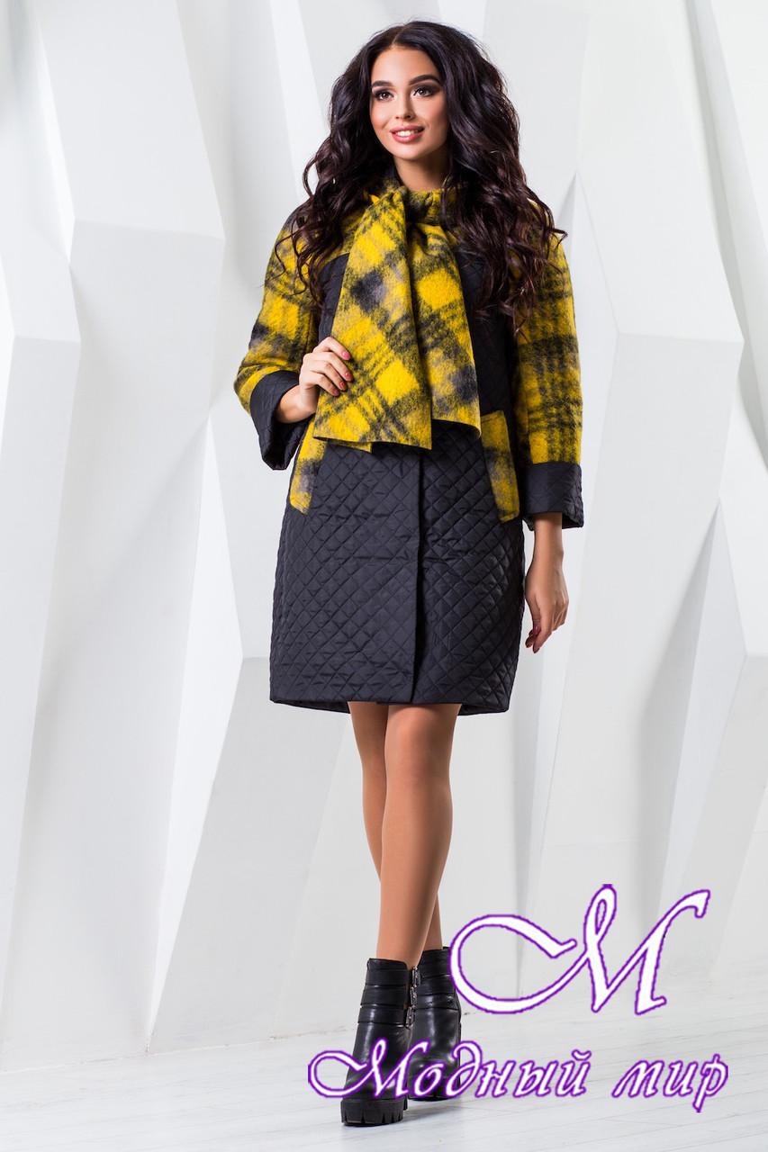Женское комбинированное демисезонное пальто (р. 44-60) арт. 971 Тон 21