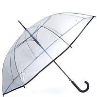 Женский полуавтоматический зонт-трость happy rain u40970 с прозрачным куполом