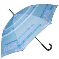 Женский полуавтоматический зонт-трость happy rain u41089-2 голубой с антивеером