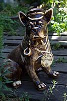 Садовая фигура Пес с трубкой, керамика