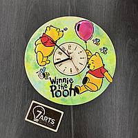 Детские цветные часы из дерева на стену «Винни Пух»