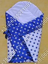 Летний конверт одеяло на выписку для новорожденного Синие звезды, фото 3
