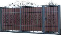 Кованые ворота и калитка В-13 с ПРОФНАСТИЛОМ
