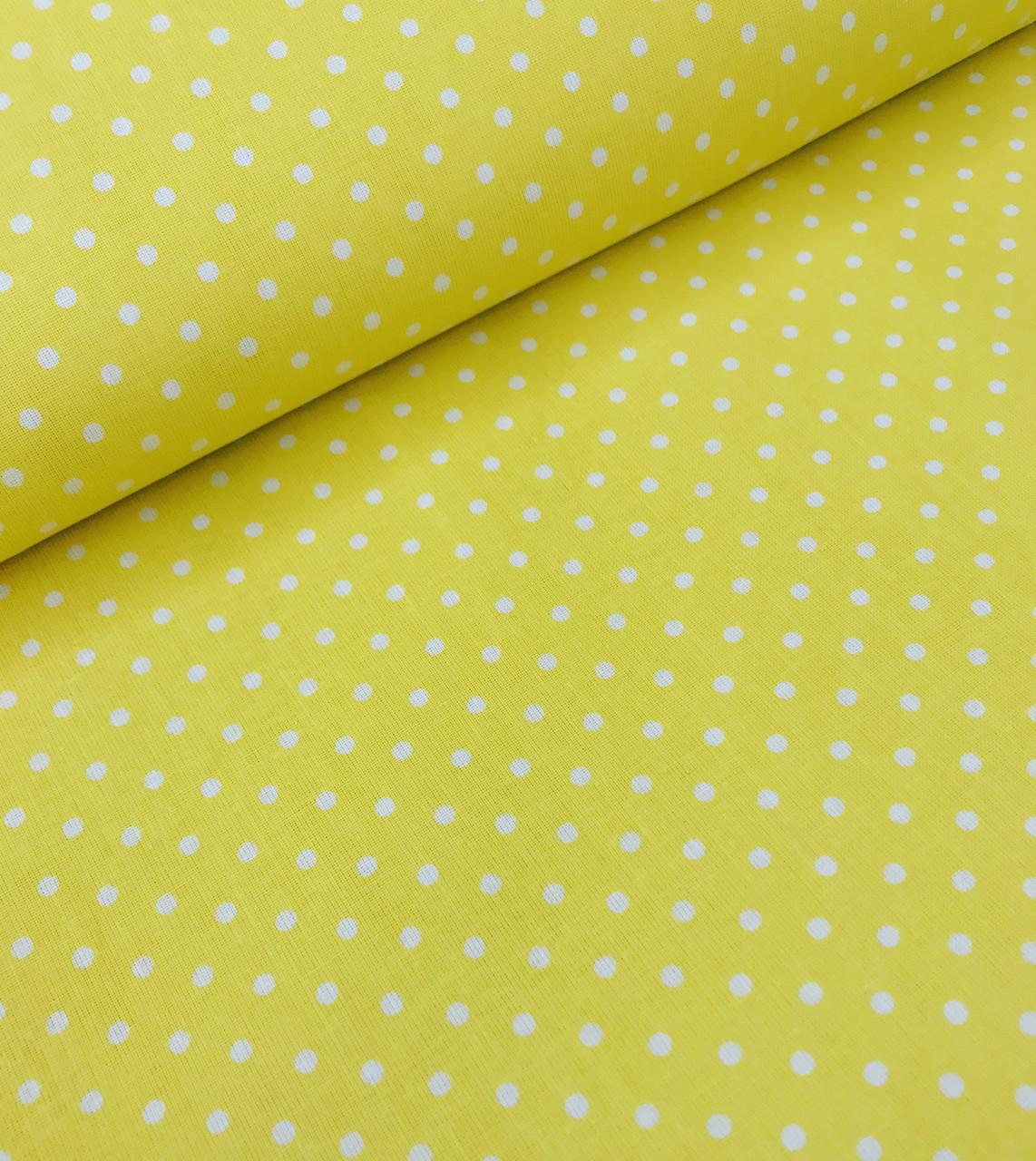Хлопковая ткань польская горох белый на желтом 4 мм  №620
